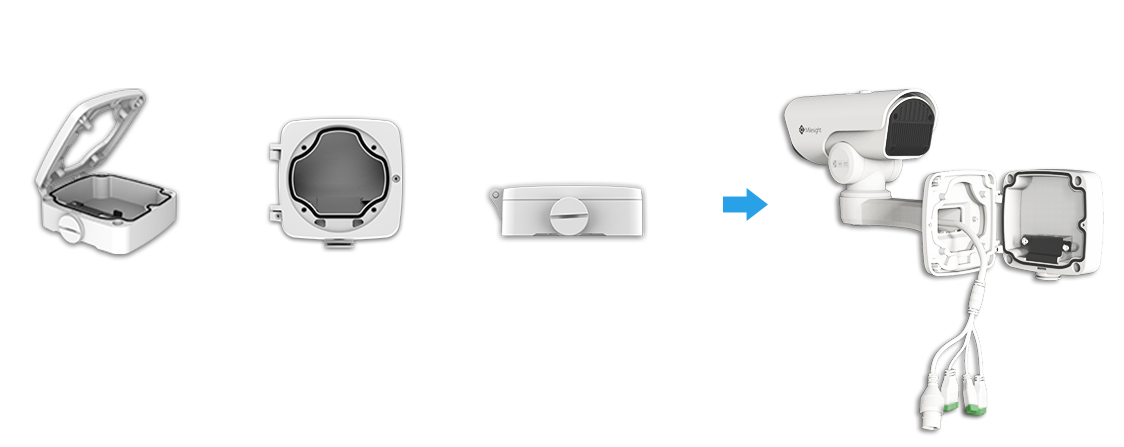 The clamshell-designed Junction Box of Milesight H.265 Mini (PoE) PTZ Bullet Network Camera