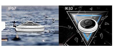 IP67 weather-proof and IK09 vandal-proof capability of Milesight 12MP H.265+ Fisheye Network Camera.