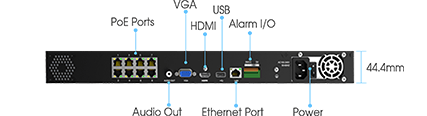 the 4K H.265 PoE NVR 5000 comes with a whole array of ports such as an HDMI port, 2 USB ports, 4 PoE ports, and a LAN port.