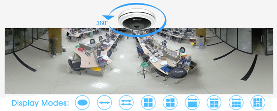 Dewarped image of Milesight 12MP H.265+ Fisheye Network Camera to show 360° panoramic view.