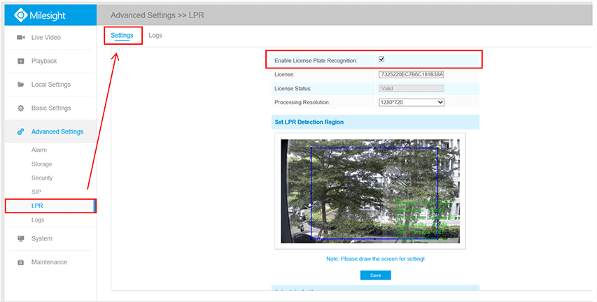 Settings of Milesight LPR Camera interface