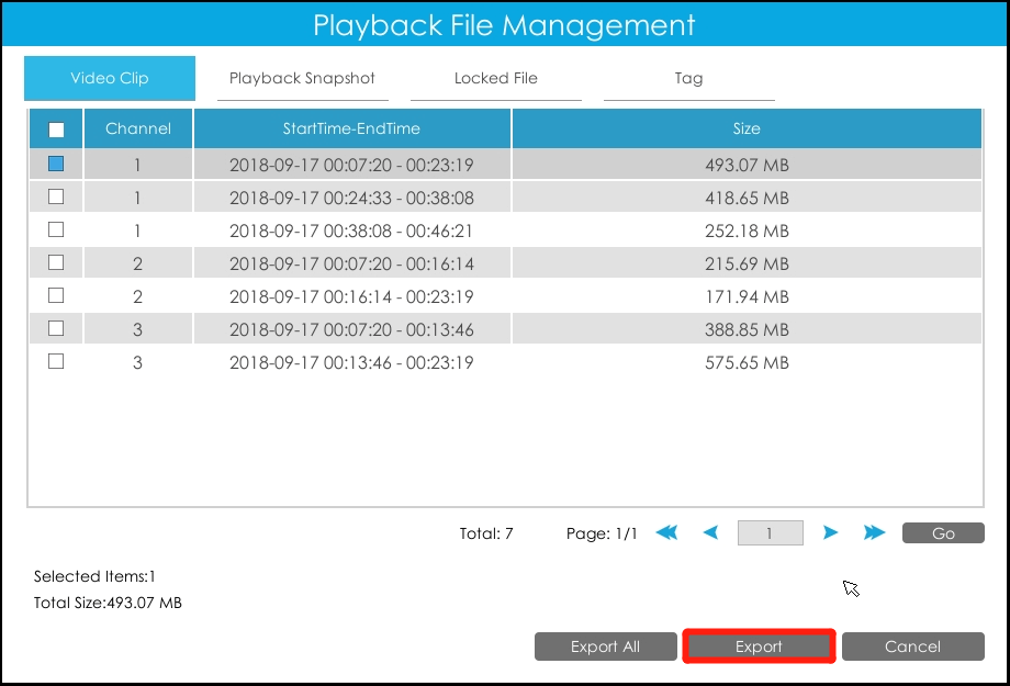 Backup in Playback interface